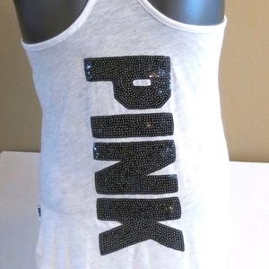 VS PINK Stripe Bling Sequin Logo Racerback Tank